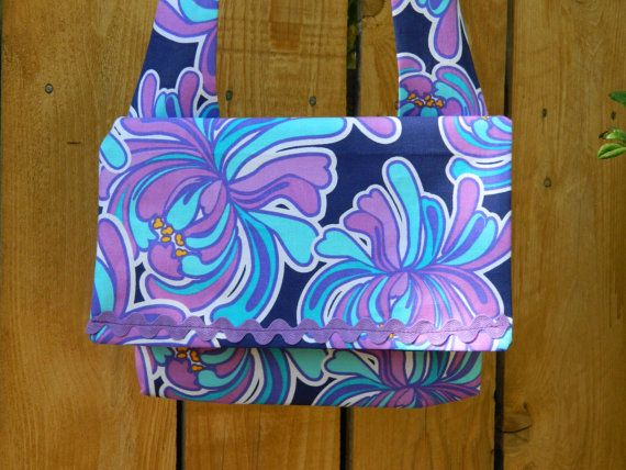 Blue Hawaii Purple Tropical Floral on Blue by joliefemmebydiana