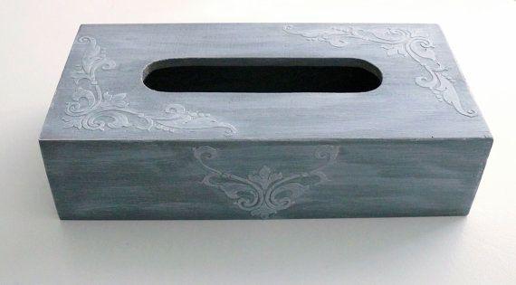 Shabby Chic tissue box cover- gray via Etsy