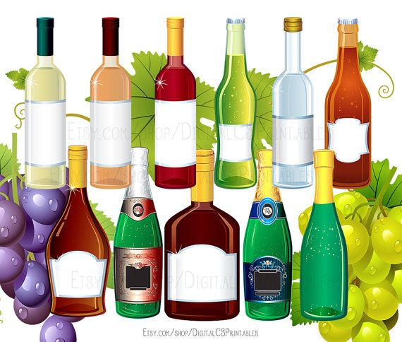 Drink clipart Wine clipart Alcohol clipart Bottle clipart drink clip art wine clip art png files png clipart Party clipart by DigitalCSPrintables on Etsy.