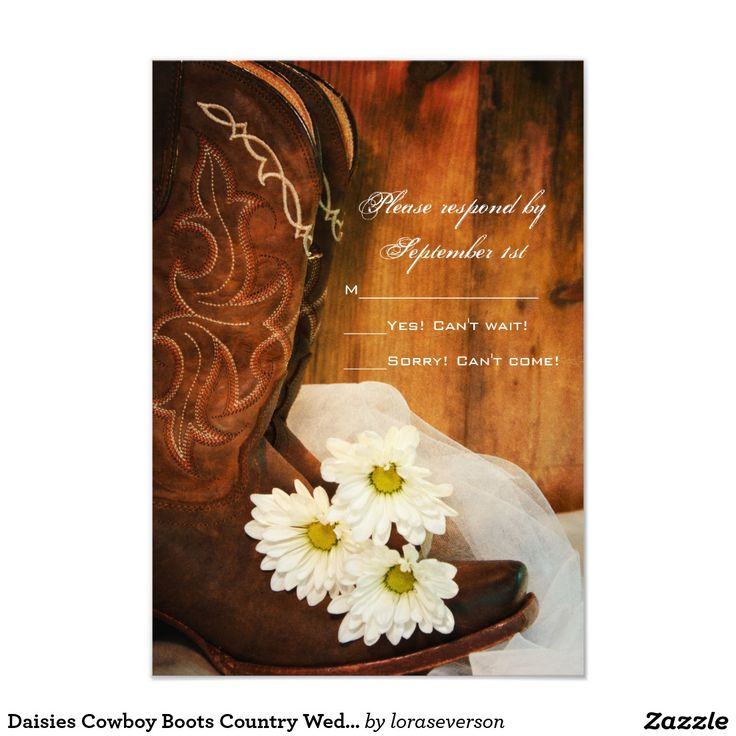 Daisies Cowboy Boots Country Western Wedding RSVP