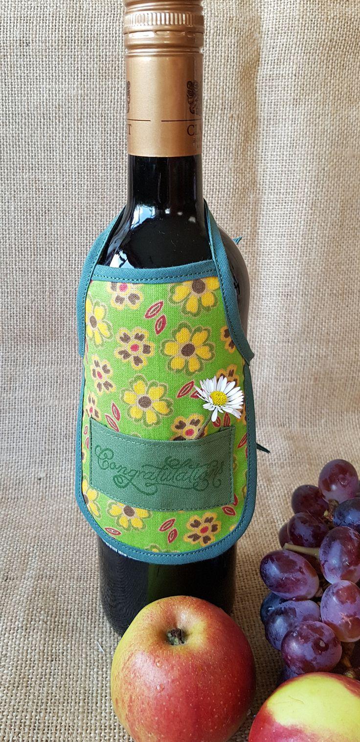 Wine Bottle Apron, Congratulations, Novelty Gift, Unique Gift Idea, Wine Bottle Cozy by PirkkosCreations on Etsy