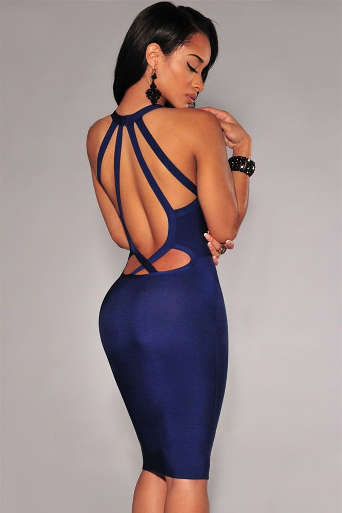 Chicloth Navy Blue Strappy Cut-Out Back Bandage Dress