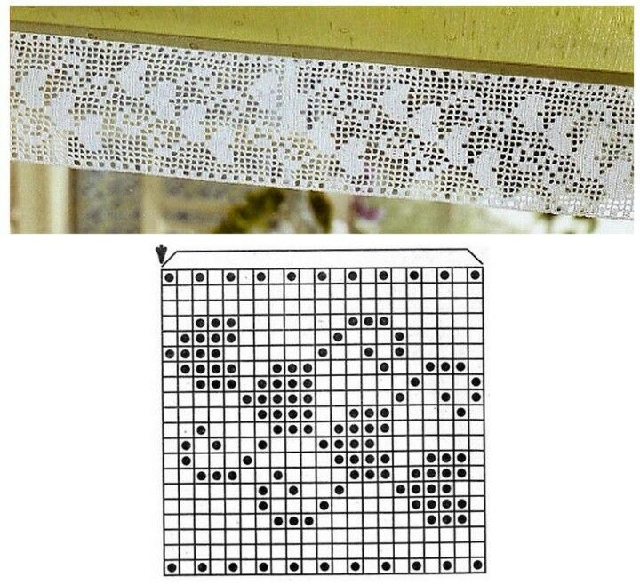 Filet Crochet hearts chart.