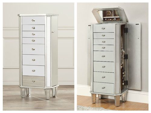 Mirrored-Jewelry-Armoire-Mirror-Cabinet-Organizer-Standing-Chest-Silver-Wood-Box