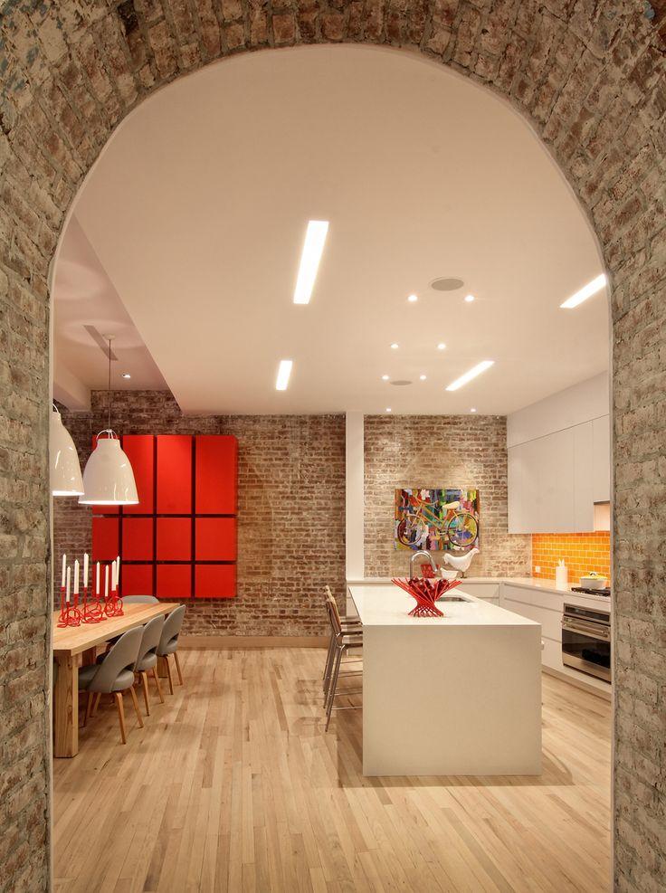 foorni.pl   Apartament przy Greenwich St./ cegła na ścianie / cegła w kuchni