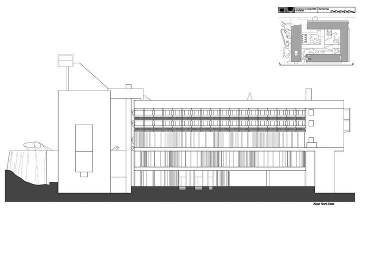 Hand-drawn Elevation of Convent Sainte-Marie de la Tourette designed