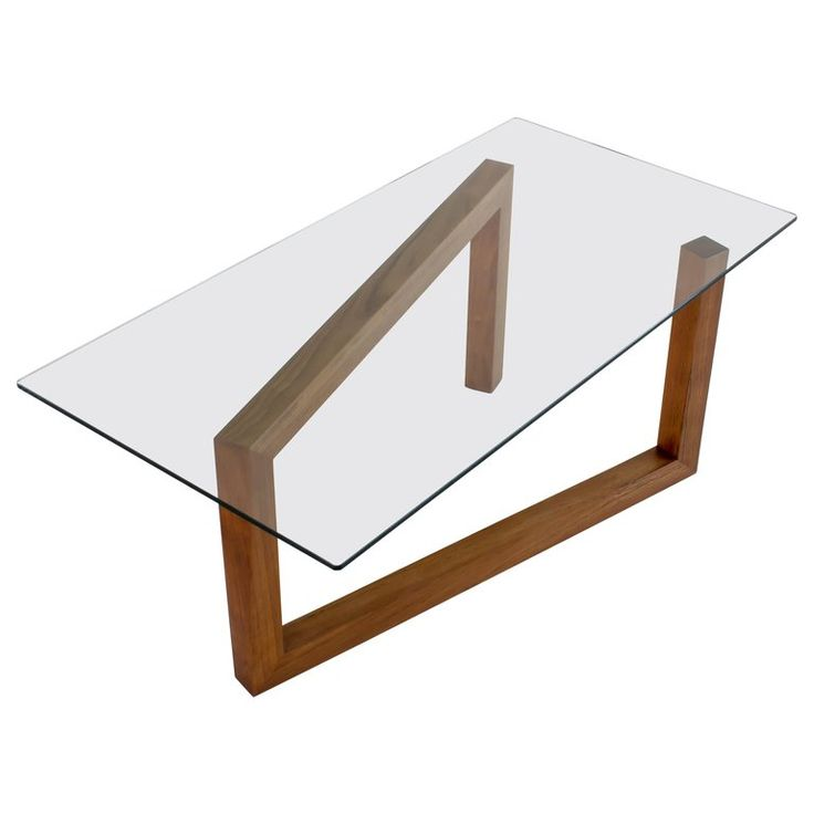 Contemporary Momento Coffee Table With Walnut Base And Glass Top