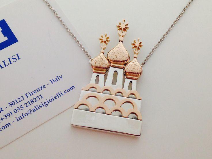 La Chiesa Ortodossa Russa di Firenze, un vero capolavoro, rappresentata in argento con particolari in oro rosa! Bellissima!