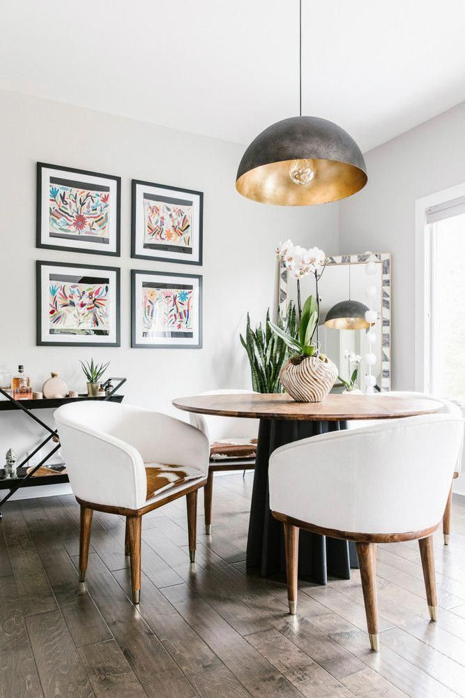 grid gallery wall and modern eclectic decor in the dining room rh pinterest com