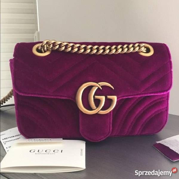 Gucci Torebka Nowa Ostry Roz Fuksja Welurowa Marmont Nowosc Bags Shoulder Bag Shoulder
