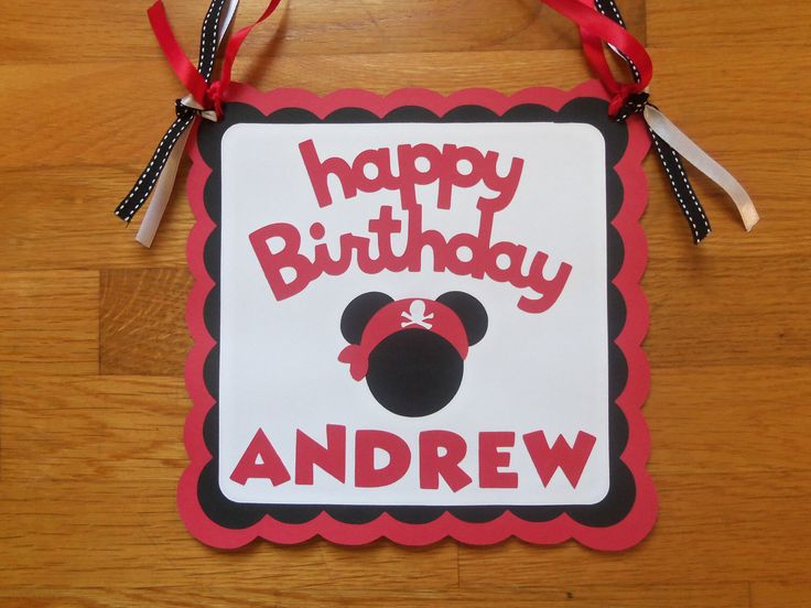 Pirate Mickey Mouse Happy Birthday Disney Door Sign by AllYourDieCutNeeds on Etsy https://www.etsy.com/listing/95806660/pirate-mickey-mouse-happy-birthday