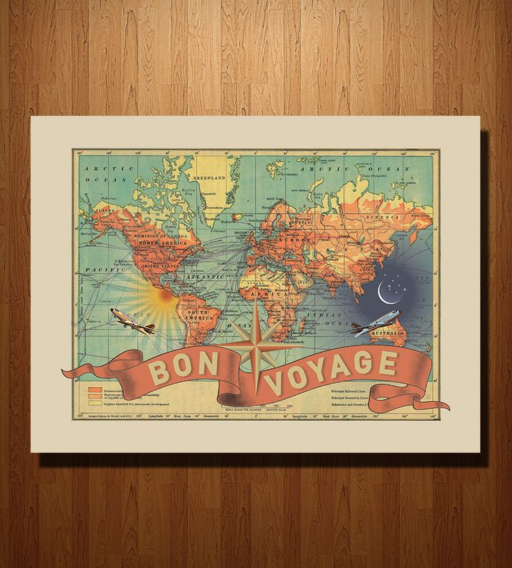 Bon Voyage Map Print | Add some fun and adventure to your world with this travel them... | Posters