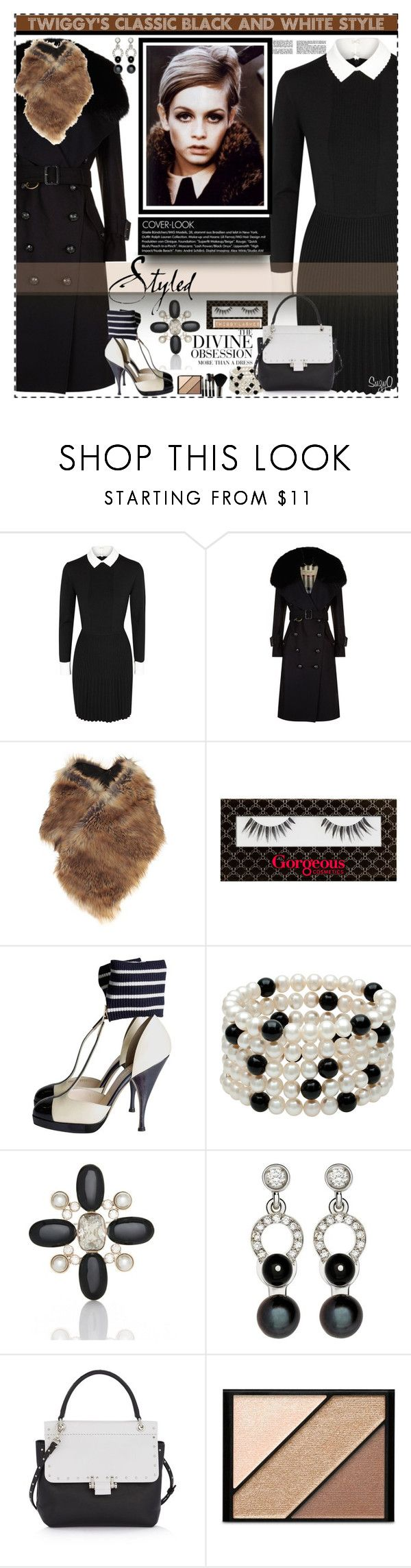 """""""TWIGGY:  Classic Winter Black Style"""" by polyvore-suzyq ❤ liked on Polyvore featuring Tory Burch, Burberry, Dries Van Noten, Gorgeous Cosmetics, Chanel, St. John, Nathalie Jean, Lanvin, Vera Wang and Elizabeth Arden"""