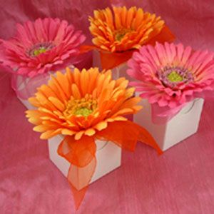 Orange and fuschia floral favor boxes.  I did these for a shower about 2 years ago.  They were stunning piled up together and easy to put together.
