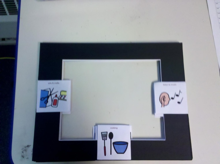 So Cool!  Low Tech Eye Gaze Communication Book made with cardboard picture frames.