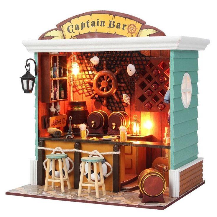 Diy miniature captain bar dollhouse kit dollhouse
