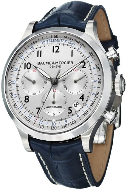 NEW BAUME & MERCIER CAPELAND MENS LUXURY WATCH with Automatic Movement, Tachymeter, Telemeter, Date functions and it is delivered on a leather strap.