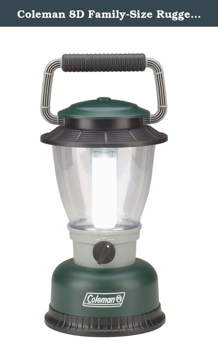 Coleman 8D Family-Size Rugged LED Lantern. The famous, instantly-recognizable Coleman lantern, with the long life and quality of LED lighting. The Coleman 8D Family-Size Rugged LED Lantern features a bright, long-lasting Cree Xlamp XR-E LED, which sheds 190 lumens of light on the High setting. This large lantern runs for 66 hours on Low and 32 hours on High, on a set of 8 D-cell batteries (not included). The rugged housing with comfortable grip handle is weather-resistant, so it will…