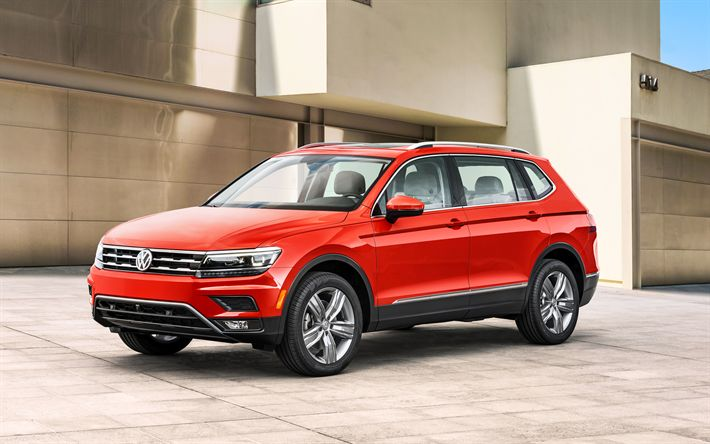 Download imagens Volkswagen Tiguan, 2018, longa distância entre eixos, Cruzamento, vermelho Tiguan, carros alemães, Volkswagen