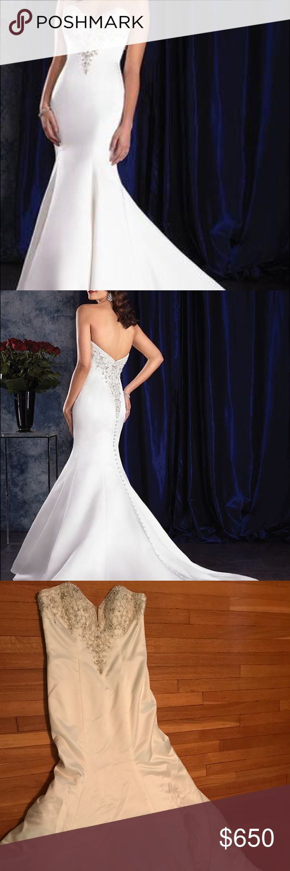 New with tags Alfred Angelo Wedding Dress Size 12 New with tags style 405 Sapphire by Alfred Angelo Wedding Dress Size 12 in ivory / metallic. Front panel with mesh and beads. Strapless dress. Never worn. Accepting best offer! MRSP $ 1295 Alfred Angelo Dresses Wedding
