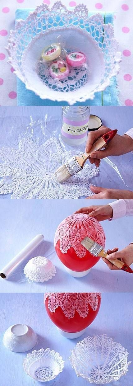 DIY Lacy Napkin Charming Vase