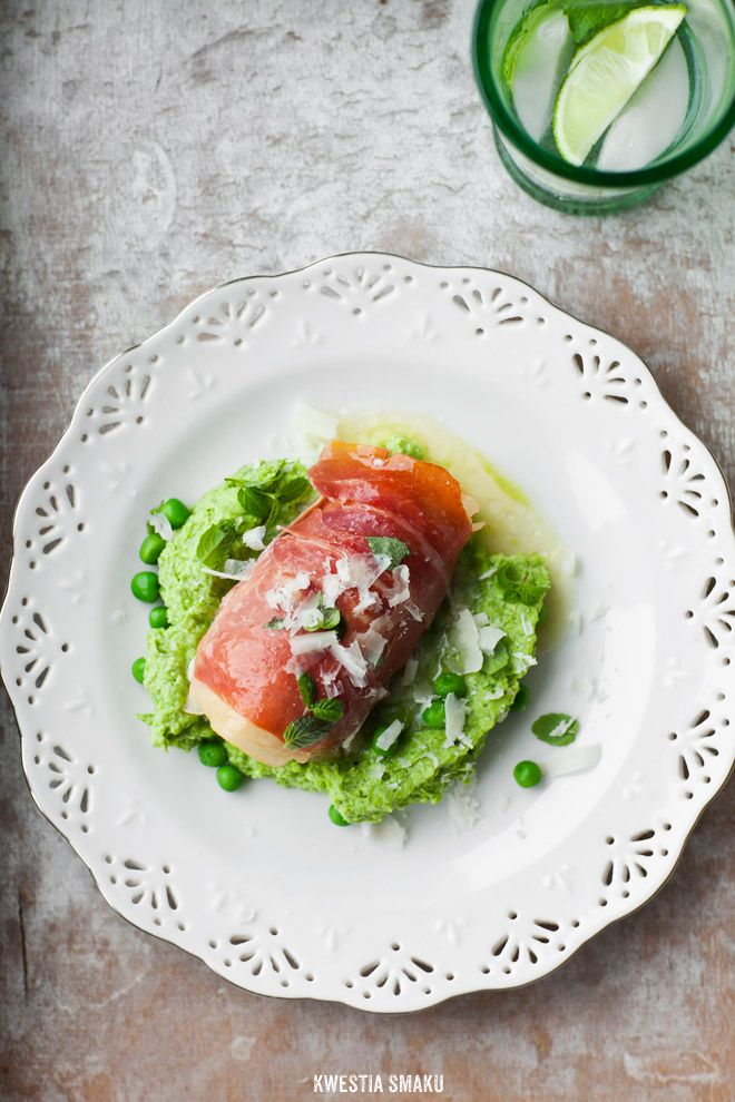 Chicken Breast Filled with Cheese Wrapped in Prosciutto on Pea Pesto