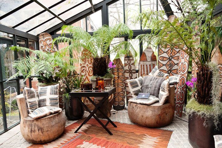 Dorothee Schumacher at home in Germany--by the Selby-- So Jungalicious!!: Green Houses, Sunrooms, Chairs, Plants, Greenhouses, Patio, Places, Ferns, Sun Rooms