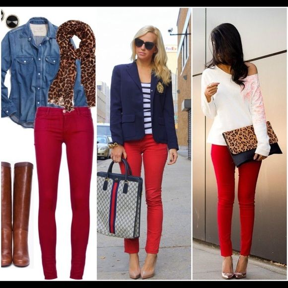 Red Skinny Jeans ❤️ Stretch. Low waist. Lola is part of BCBGMaxAzria Retail Group.  Make an offer. No trades.  Lola Jeans Skinny