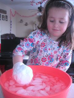 Cover hand is shortening and put in an icy bowl of water to demonstrate how polar bears (or seals or penguins, etc.) stay warm in the Arctic!