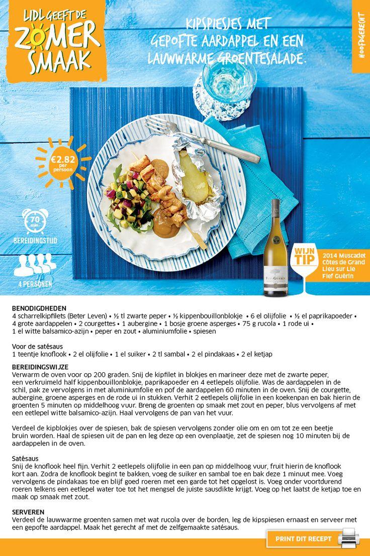 Kipspiesjes met gepofte aardappelen een lauwwarme groentesalade - Lidl Nederland