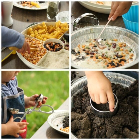 tweezing, ladeling, scooping, cutting in mud kitchen