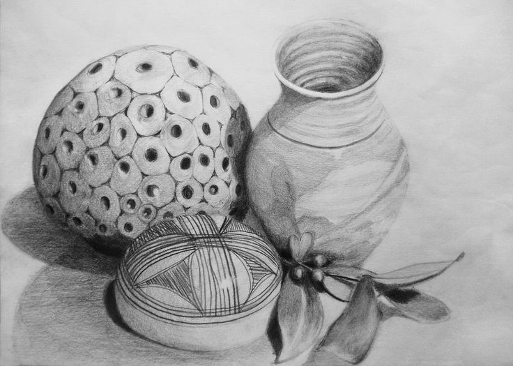 """'Rounded Collection II' by Arwyn Quick. Still life which of a studio pottery vase, a hand-made ceramic flower holder, an African poker-work gourd and a sprig of skimmia from the front garden. Graphite on paper. 10"""" by 14"""""""