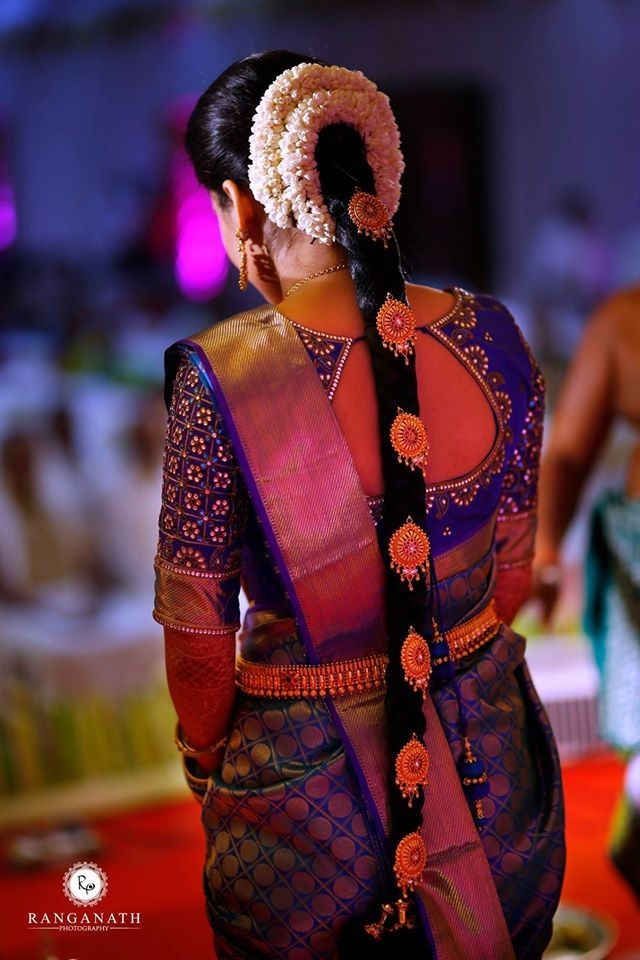 South indian bride tamil bride telegu bride kerala bride kanchivaram kancheepuram royal blue jasmine hair flowers bridal look