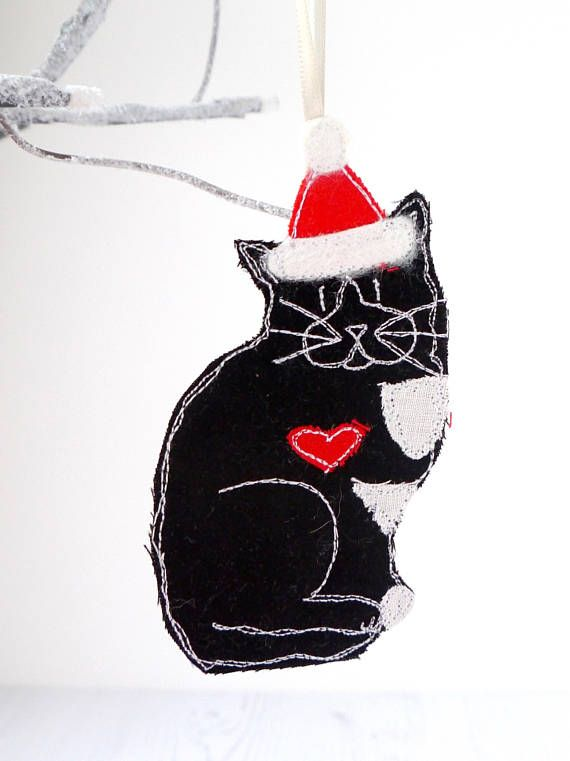 Cat Christmas decoration - Crazy Cat Lady gift - Black Cat embroidered fabric ornament - Cat Mum gift - Cat ornaments - Cat Gifts - Cats  •★• Fabric Christmas Decoration •★•  Sitting* CAT Embroidered Fabric Christmas Decoration. (*Direction the CAT is facing can vary)  A range of colours