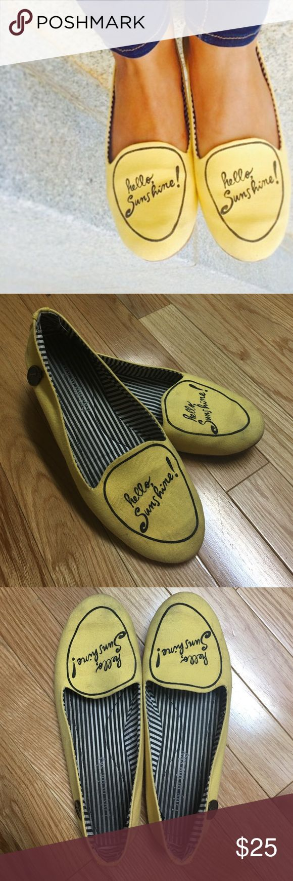 {modcloth} Chance Greeting Flat Yellow fabric flats by Loly in the Sky that send you encouraging messages from your feet all day. Worn but still lots of good wear left! Some staining on the but nothing very visible when wearing. ModCloth Shoes Flats & Loafers