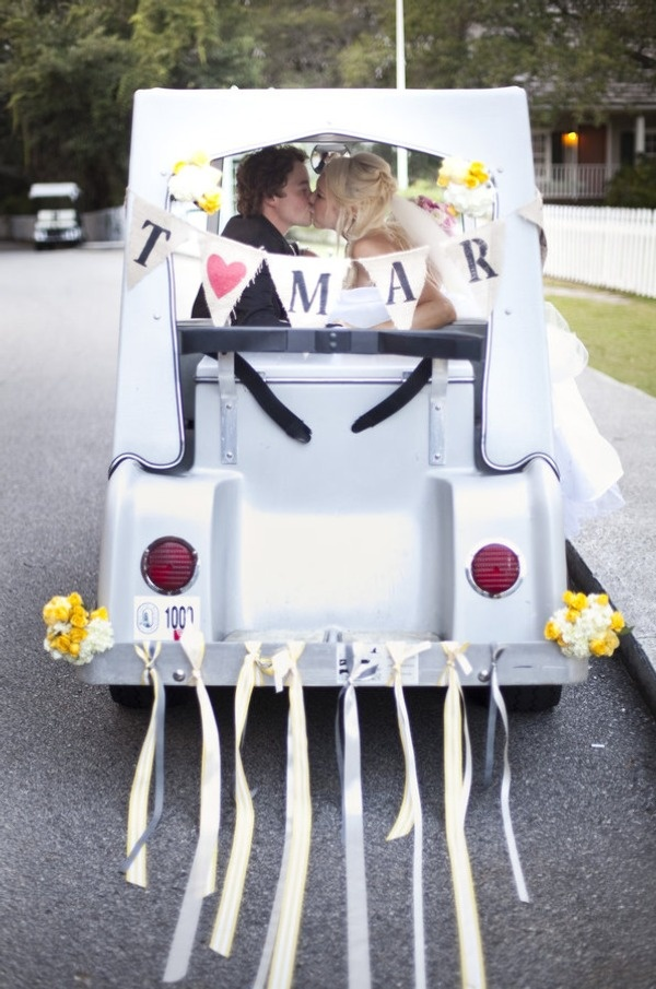 yup, it's a decorated getaway golf cart