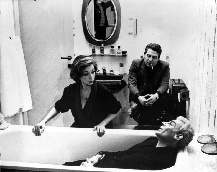 "Mariangela Melato, Gian Maria Volonté ed Elio Petri, sul set di ""Todo modo"" (1976) http://www.nientepopcorn.it/film/todo-modo/"