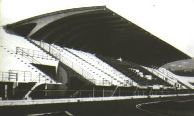 "Reinforced horizontal concrete cantilever structure seating 35,000. Pier Luigi Nervi's Artemio Franchi Municipal Stadium (Stadio Comunale ""Artemio Franchi""), in Florence, Firenze, Tuscany, Italy, built in 1929 - 1932."