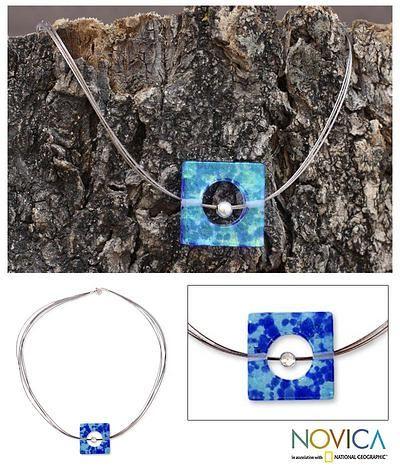 Handmade Modern Glass Pendant Necklace - Blue Rhapsody   NOVICA
