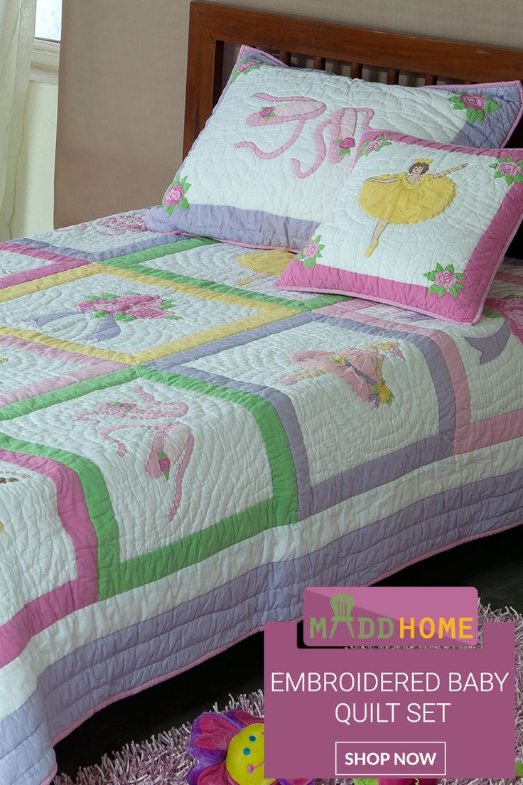 Ribbon embroidery bedspread designs - Give A Sweet And Warmth Feeling To Your Little Angle With Our Balerina Design Patchwork Applique