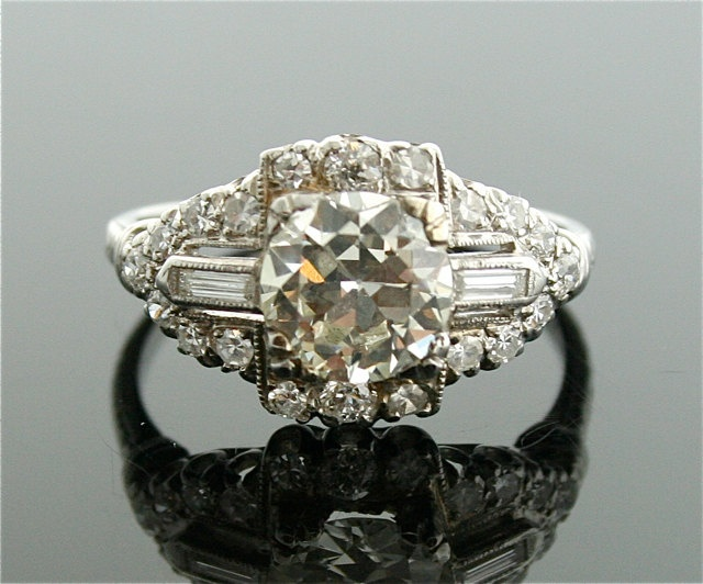 1930s Diamond Ring - Platinum and Diamond Ring. $14,500.00, via Etsy.