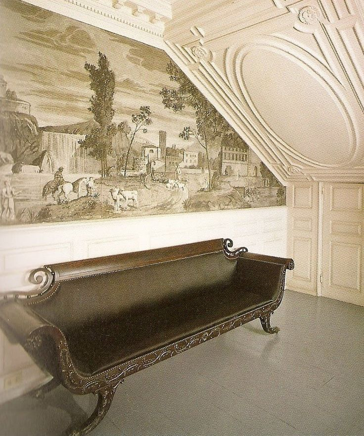 Early 19th century scenic grisaille wallpaper -- Moffatt-Ladd house, Portsmouth, New Hampshire
