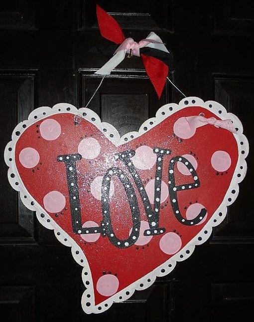 Handpainted wooden heart