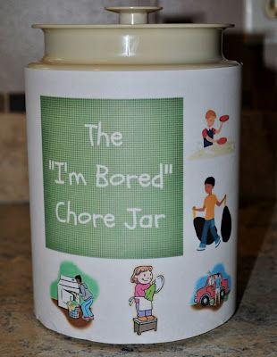 """Make your own """"I'm bored"""" chore jar to stop the summertime whining.: Good Ideas, Summertime Whining, Summertime Saniti, I M Bored, I'M Bored Jars Ideas, Chore Jars, Future Kids, Saniti Savers, Summertime Crafts Boys"""