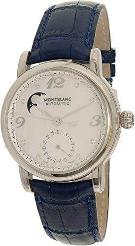 #diamondwatches #diamondwatchesforwomen Montblanc Women's Star 38275 Blue Leather Swiss Automatic Watch Check https://www.carrywatches.com