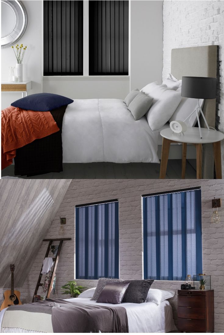 NEW vertical blinds from Style Studio. Blue blinds. Black blinds ...