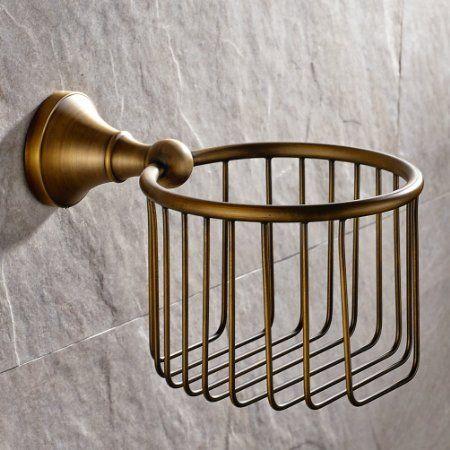 Vintage Antique Brass Finish Toilet Paper Holder Wall Mounted Bath Storageu2026