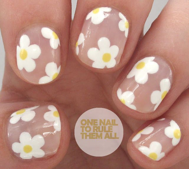 Negative Space Daisy Nail Art                              …