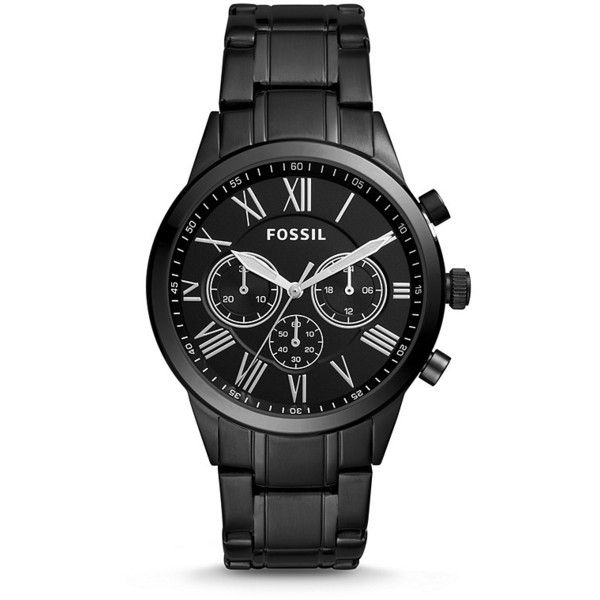 Fossil Flynn Midsize Chronograph Black Stainless Steel Watch ($101) ❤ liked on Polyvore featuring men's fashion, men's jewelry, men's watches, stainless steel mens watches and mens chronograph watches