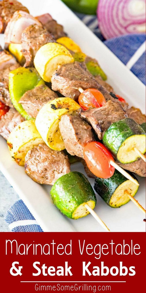 Marinated Grilled Vegetable and Steak Kabobs ~ Delicious, Tender Marinated Steak and Vegetables on a Kabob Stick! Grilled to Perfection. Include Your Favorite Vegetables like Onions, Peppers, Zucchini and Squash! via @gimmesomegrilling
